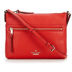 kate spade new york Jackson Street Gabriele Cross-Body Bag (575 PEN) ❤ liked on Polyvore featuring bags, handbags, shoulder bags, red cross body handbags, red crossbody handbags, red crossbody, kate spade handbags and red shoulder bag