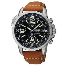 Seiko Solar Men's Chronograph Black Dial Strap Watch - Product number 9573658