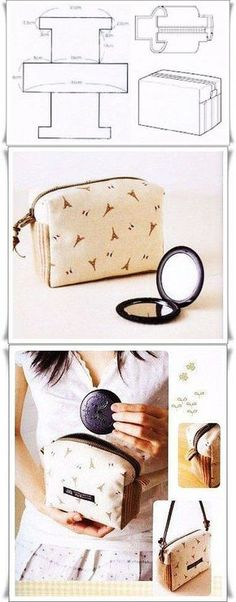 Interesting and quite unusual cosmetic bag pattern. Sewing Hacks, Sewing Tutorials, Sewing Crafts, Sewing Patterns, Small Sewing Projects, Bag Patterns, Fashion Sewing, Diy Fashion, Dress Fashion