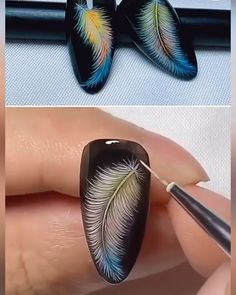 Mention someone who needs to level up their nail game by doris_nail_artist we can t get enough of these vibrant makeup looks! Feather Nail Designs, Feather Nail Art, Gel Nail Art Designs, Nail Art Designs Videos, Nail Art Videos, Disney Nail Designs, Nail Art Hacks, Nail Art Diy, Gel Nails