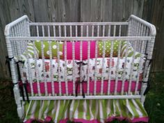 3 Piece Pink Lime Green Owl Baby Crib Bedding Set by YorkCreations, $298.00