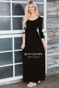 Black Crochet Sleeve Detail Maxi Dress
