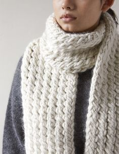 Free Knitting Pattern for 2 Row Repeat Snow Tracks Scarf - This cozy scarf features a 2 row repeat mock cable stitch knit in super bulky yarn. Designed by Purl Soho.