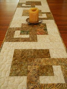 Batik Table Runner in Neutral Earthtones Quilted by susiquilts