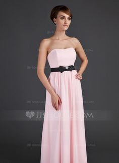 Empire Sweetheart Floor-Length Chiffon Charmeuse Bridesmaid Dress With Sash Beading Bow(s) (007015659)