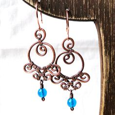 Ornamental Earrings Wire Wrapped Jewelry Aqua by KariLuJewelry, $37.50