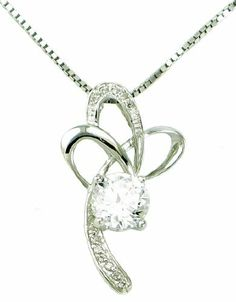 "Rhodium Plated 925 Sterling Silver Cubic Zirconia Diamond Accent Regal Cross Ribbon Flower Pendant Necklace for Women Including Italian Sterling Silver Box Chain 18"" SS301 Arco Iris Jewelry. $35.95. Come with a FREE $25 Retail Value Box Chain, Very Good Quality. Delicate, light weighted, yet strong and durable! Perfect for a fine pendant.D. Rhodium plated, Stamped 925 on bail, clasp & pendant.. Chain length - 18"", Chain width - 0.8MM,  Made in Italy, nickel free...."