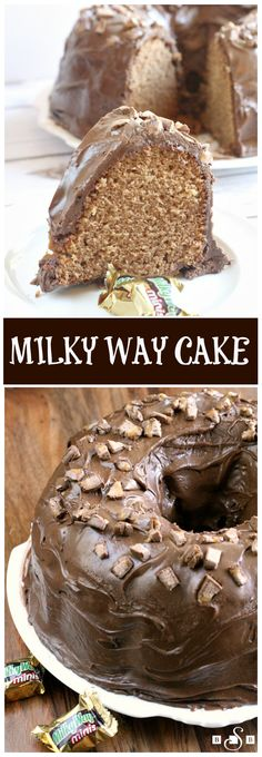 Milky Way Cake is a huge hit at our house, it is made with melted Milky Way candy bars and topped with a chocolate marshmallow ganache! way MILKY WAY CAKE - Butter with a Side of Bread Cupcakes, Cupcake Cakes, Sweets Cake, Just Desserts, Delicious Desserts, Dessert Recipes, Baking Recipes, Cake Candy, Candy Bars