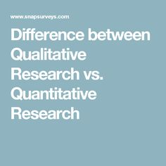 Quantitative Research  Quantitative Research