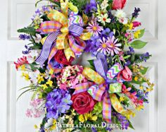 Spring Flower Wreath  Easter Wreath  Everyday by AllAboutTheWreath
