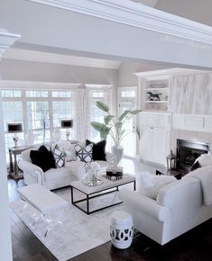 When we mention white room decor we have plenty on our mind. This edition of Shop The Look is all about how you can and will achieve a white room design in time Luxury Living Room, Home Living Room, Living Room Decor On A Budget, White Living Room Decor, House Interior, Apartment Decor, White Room Decor, Elegant Living, Home And Living