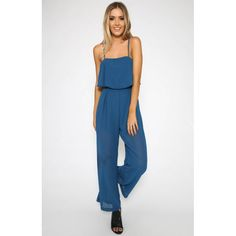 Blue Spaghetti Strap Loose Fit Chiffon Jumpsuit #SS16 @ ShanghaiTrends.co.uk