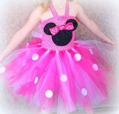 Pink and white Minnie Mouse tutu dress with by CoverMeInLove