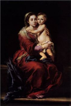 Bartolome Esteban Murillo Virgin and Child with a Rosary, , Museo del Prado, Madrid. Read more about the symbolism and interpretation of Virgin and Child with a Rosary by Bartolome Esteban Murillo. Catholic Art, Religious Art, Diego Velazquez, Esteban Murillo, Baroque Painting, Mama Mary, Sainte Marie, Holy Rosary, Immaculate Conception