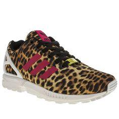 Womens Beige & Brown Adidas Zx Flux Leopard Trainers   schuh