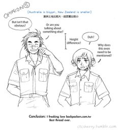 Differences between Australia and New Zealand, according to travellers: Part 4 of 4 - Art by ctcsherry.tumblr.com
