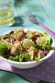 Recette Salade aux ravioles à poêler 3 fromages et chorizo - Une recette Saint Jean