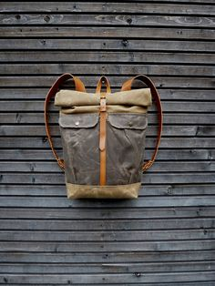 Waxed canvas backpack with roll to close top and vegetable