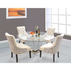 - 5 Pcs Round Glass Dinette Set (Mirrored Base w/ Antique Bronze Finish) - Furniture Import & Export Wholesale Dining Room Sets, 5 Piece Dining Set, Dining Room Table, Kitchen Dining, Wood Table, Dining Area, Dining Chairs, Glass Round Dining Table, Round Glass