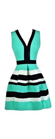 Shorelines Colorblock Stripe Dress in Navy/Green  www.lilyboutique.com
