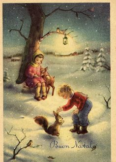 A blanket of snow dotted by trees wearing their finest holiday lanterns {Miss Jane}