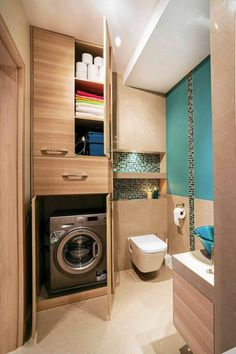 Small bathroom laundry Every family home needs a laundry room, but not all homes have enough space for one. Here's how you can incorporate them in small bathroom. Laundry Room Bathroom, Laundry Room Design, Bathroom Design Small, Bathroom Storage, Bathroom Interior, Bath Room, Laundry Rooms, Bathroom Renovations, Master Bathroom
