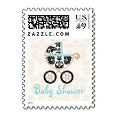 Eggshell Blue Damask Print Carriage Baby Shower Postage