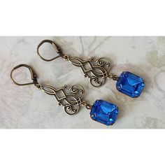 Sapphire Rhinestone Earrings ($25) ❤ liked on Polyvore featuring jewelry and earrings