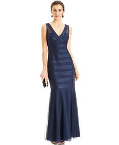 JS Collections Sleeveless V-Neck Satin Illusion Gown Macy's