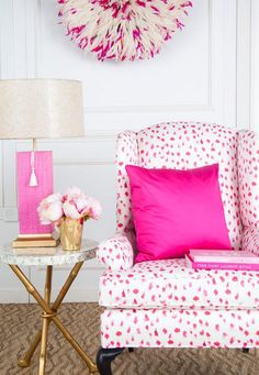 peony pink - chair upholstered in pink Inslee Africa fabric - shopsocietysocial via atticmag