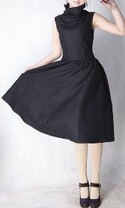 elegant plain black woollen long dress