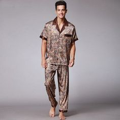 6f73c97b18 2017 Spring Summer Silk Pijama Men s Short Sleeve Nightshi With Long Pants  Two Pcs Pajamas Sets