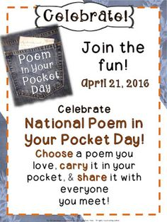 Poem in Your Pocket Day is a wonderful way to get your kids excited about poetry!