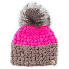 Mischa Lampert Two-Tone Wool Fox-Trim Beanie Hat