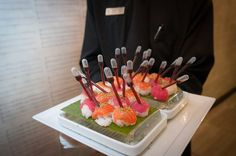 Chef Lewis Butler's sushi bites at WeddingWire's Center Club event.  Yes, hand passed sushi with soy sauce that's easy to eat.  #CenterClub #OCWeddings #WeddingWire