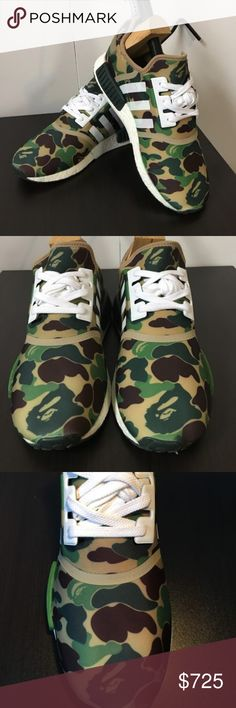 "Adidas NMD R1X Bape ""Green Camo"" A Bathing Ape Adidas NMD R1 Bape Green Camo Army Bathing Ape Nomad Runner Size 11  BA7326 Rare and  Extremely hard to find in this condition at this price!!  DON'T MISS OUT ADDING THESE TO YOUR COLLECTION!  Sold as Is! Where Is! adidas Shoes Sneakers"