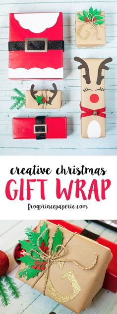Creative gift wrapping ideas for Christmas using your Cricut Machine. Make Santa, reindeers and a beautifully monogrammed holly decked package. #giftwrapping