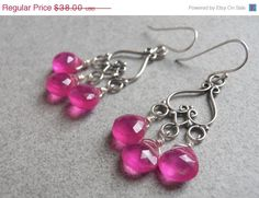 MOTHERS DAY SALE 15 off Hot Pink Earrings Pink by SueanneShirzay, $32.30