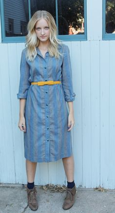 t-shirt dress with belt, ankle boots, and socks.  love!