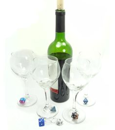 Nerdy Wine Glass Charms Dice Dungeons And Dragons by TangledMetal, $25.00