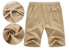 2017 Linen Shorts High Quality Beaded Drawstring Men's Casual Beach - Khaki - Shorts