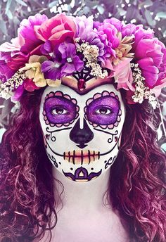 Pink and purple sugar skull