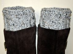 old thriftstore sweater sleeves cut up for boot cuffs