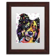 "Trademark Art ""Border Collie"" by Dean Russo Matted Framed Painting Print Size: 14"" H x 11"" W x 0.5"" D"