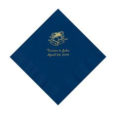 Navy Wedding Bells Personalized Napkins with Gold Foil - Luncheon