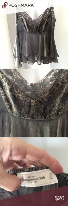 Abercrombie and Fitch baby doll Cami So feminine and lovely on! Velvet like top of bodice with delicate lace trim, flowy! Abercrombie & Fitch Tops Camisoles