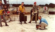 """Somewhere on a fake desert east of Austin, Texas (1982): The Clash, making their video for """"Rock the Casbah,"""" wait for the """"armadillo wrangler"""" to set up the next shot."""