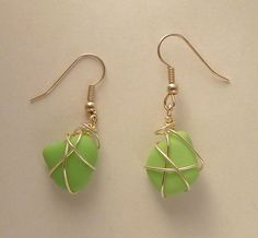 Green Jadeite / Milk Glass Earrings by GoofyMoose on Etsy, $12.00