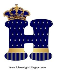 Alphabet with Golden Crown in Blue. Little Prince Party, Baby Prince, The Little Prince, Prince Birthday Theme, Blue Birthday, Heart Stencil, Royal Baby Showers, Baby Shawer, Birthday Numbers