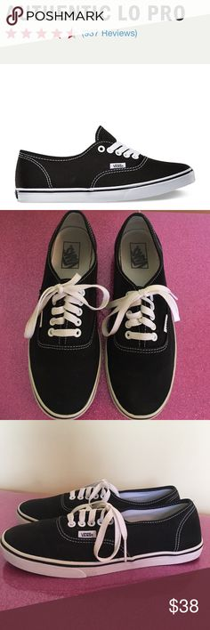 "VANS LO PRO SNEAKERS Vans in the style ""lo pro"" in white and black. Worn no more than 3 times. Perfect condition and washed to sell. Size 8 men's and 9.5 women's. Vans Shoes"
